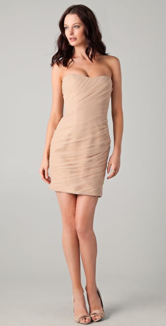 Reem Acra Diagonal Tulle Strapless Mini Dress
