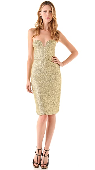 Reem Acra Strapless Beaded Cocktail Dress