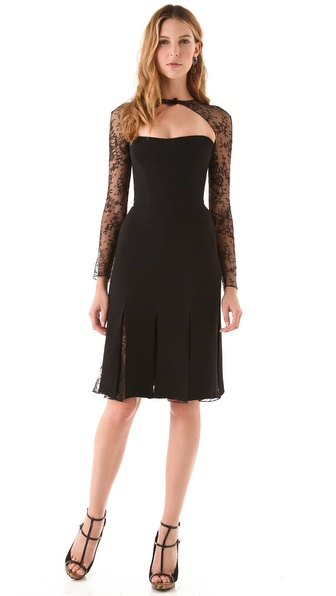 Reem Acra Long Sleeve Lace Cocktail Dress