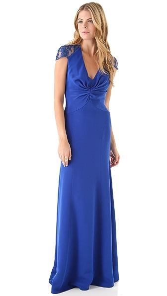Reem Acra Deep V Gown