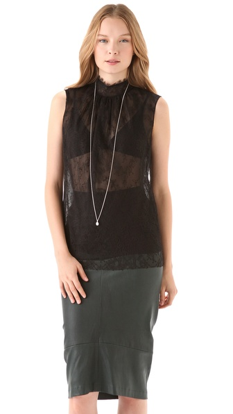 Reem Acra Sleeveless Lace Top