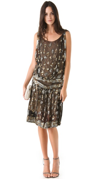 Reem Acra Silk Chiffon Flapper Dress
