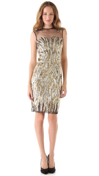 Reem Acra Firebird Beaded Tulle Dress