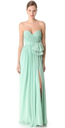 Reem Acra Slit Chiffon Gown