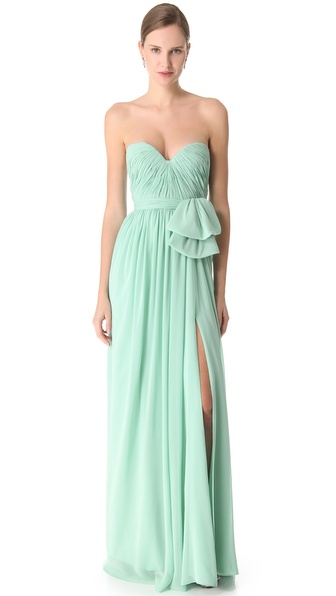 Reem Acra Slit Chiffon Gown