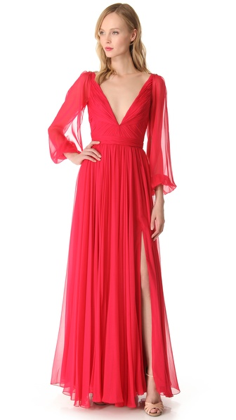 Reem Acra Flowing Bell Sleeve Dress
