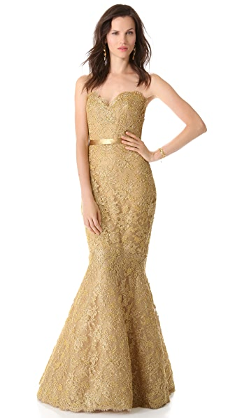 Reem Acra Metallic Lace Strapless Gown