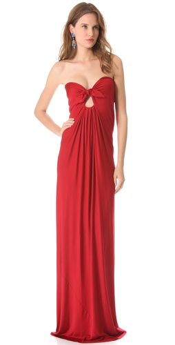 Reem Acra Strapless Keyhole Gown