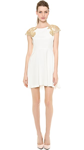 Reem Acra Bateau Flared Dress