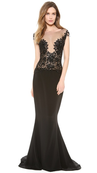 Reem Acra Embroidered Illusion Gown