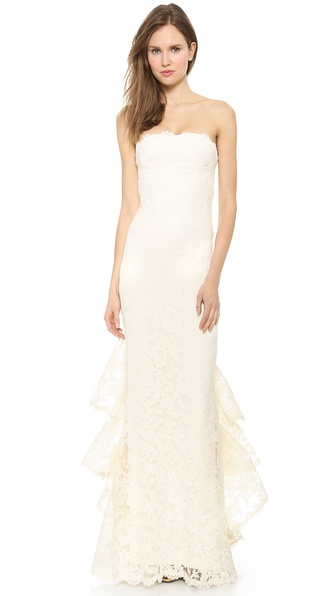 Reem Acra Strapless Re-Embroidered Lace Gown