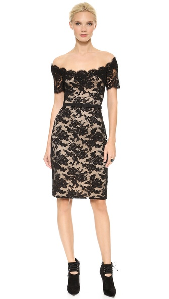 Reem Acra Off Shoulder Lace Sheath Dress