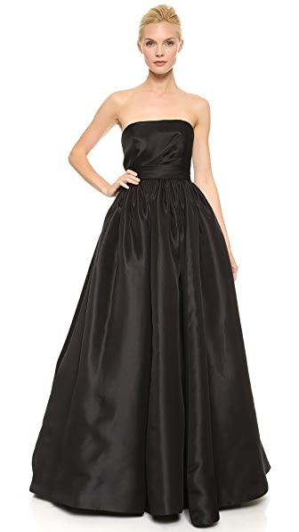 Reem Acra Draped Bodice Ball Gown