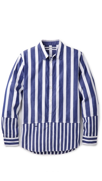 Robert Geller Striped Combo Shirt