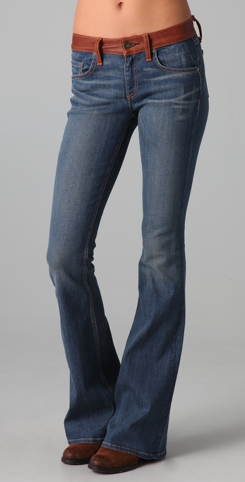 Rag & Bone/JEAN The Bell Jeans With Leather Waistband