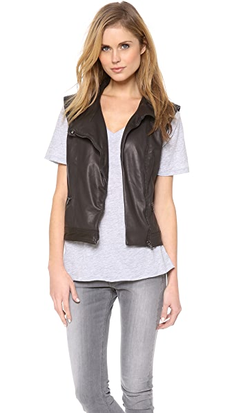 Rag & Bone/JEAN Leather Moto Vest