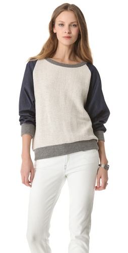 Riller & Fount Raglan Sweatshirt with Chambray Sleeves