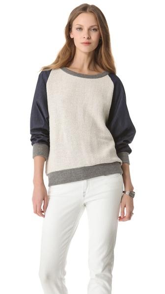 Riller & Fount Raglan Sweatshirt with Chambray Sleeves