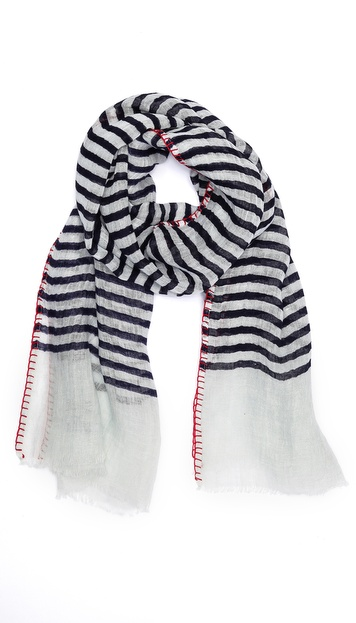 Richard James Linen Scarf with Blanket Stitch