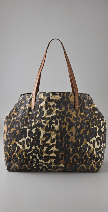 Rebecca Minkoff Washed Denim Cheetah Cherish Tote
