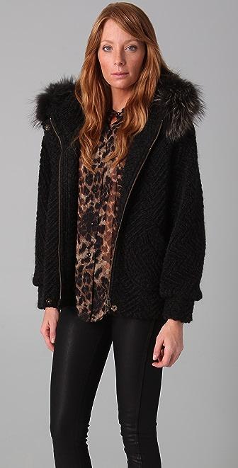 Rebecca Minkoff Dree Bubble Jacket with Fur Hood