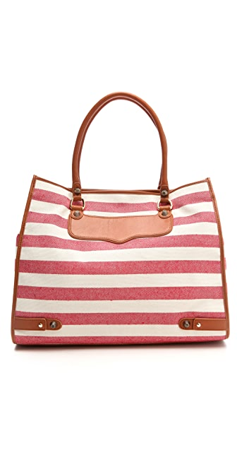 Rebecca Minkoff Canvas Stripe Diamond Tote