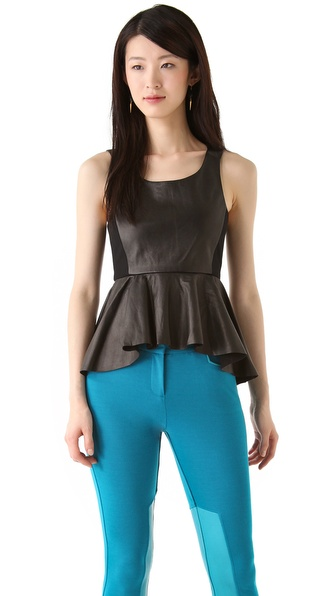 Rebecca Minkoff Monroe Leather Peplum Tank
