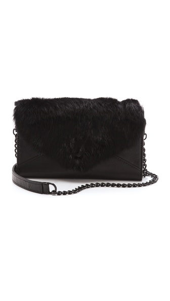 Rebecca Minkoff Fur Wallet on a Chain