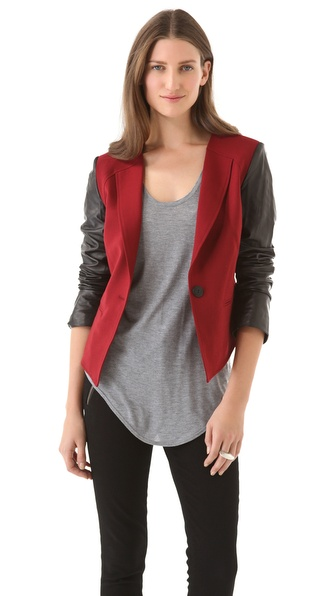 Rebecca Minkoff Delancey Leather Sleeve Jacket
