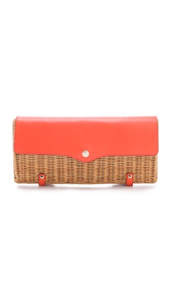 Rebecca Minkoff Straw Clutch with Leather Trim