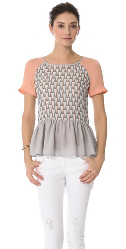 Shop Rebecca Minkoff Corrine Peplum Top and Rebecca Minkoff online - Apparel,Womens,Tops,Blouse, online Store