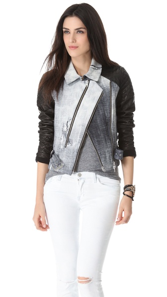 Rebecca Minkoff Kiefer Print Leather Jacket