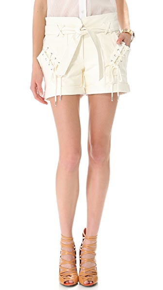 Rebecca Minkoff Vincent Lace-Up Leather Shorts