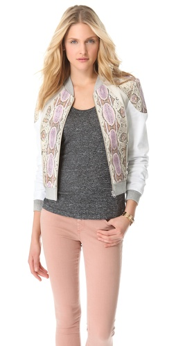 Shop Rebecca Minkoff Python Print Leather 33 Jacket and Rebecca Minkoff online - Apparel,Womens,Jackets,Non_Blazer, online Store