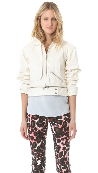 Rebecca Minkoff Leather Stone Bomber Jacket