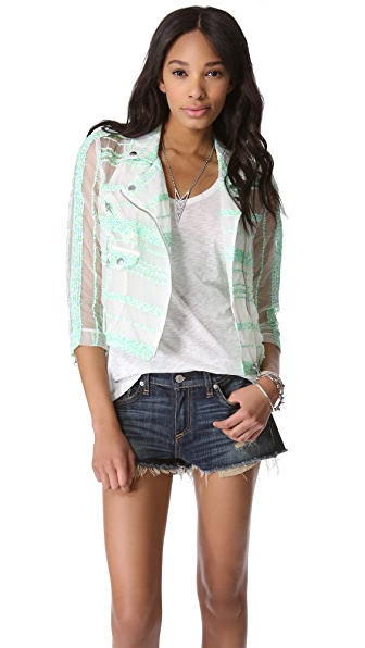 Rebecca Minkoff Sheer Tweed Wes Moto Jacket