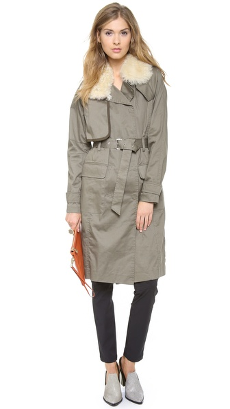 Rebecca Minkoff Shearling Collar Trench Coat