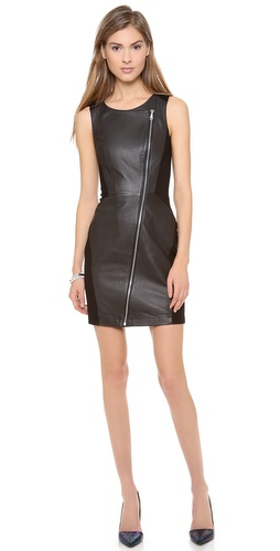 Kupi Rebecca Minkoff haljinu online i raspordaja za kupiti A sexy, moto-inspired Rebecca Minkoff dress pairs supple leather with curve-conforming mid-weight jersey. An exposed zip angles from the scoop neckline to the hem. Sleeveless. Partially lined.  Fabric: Leather / jersey. Shell: 100% lambskin. Trim: 72% rayon/23% nylon/5% spandex. Lining: 95% polyester/5% spandex. Leather clean. Imported, China.  MEASUREMENTS Length: 34in / 86.5cm, from shoulder - Black/Black
