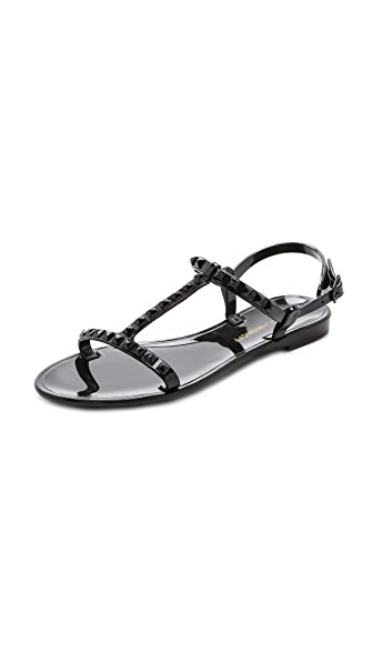Rebecca Minkoff Sava Studded T Strap Jelly Sandals