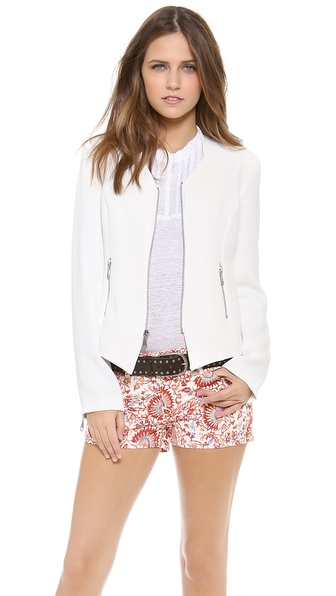 Shop Rebecca Minkoff online and buy Rebecca Minkoff Miles Jacket Chalk - This Rebecca Minkoff jacket has a slim, stand up collar and pointed hem, offering a modern spin on classic tailoring. Pockets frame the zip front, and padding structures the shoulders. Zip cuffs and long sleeves. Lined. Fabric: Lightweight suiting. 100% polyester. Dry clean. Imported, China. MEASUREMENTS Length: 21in / 53.5cm, from shoulder. Available sizes: 0,2,4,6,8,10