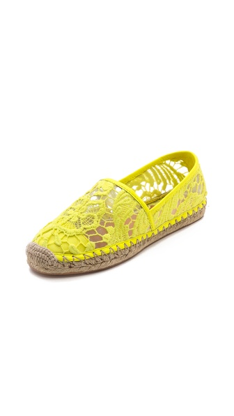 Kupi Rebecca Minkoff cipele online i raspordaja za kupiti A row of tonal studs add unexpected edge to lace Rebecca Minkoff espadrilles. Jute stitching accents the braided sidewall. Sheer mesh lining. Rubber sole. Imported, China. This item cannot be gift boxed. Available sizes: 9