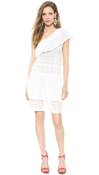 Shop Rebecca Minkoff online and buy Rebecca Minkoff Beach One Shoulder Dress White - Exclusive to Shopbop . Ruffled trim adds a flirty touch to a one shoulder Rebecca Minkoff dress, cut from breezy cotton eyelet. Covered elastic defines the waist, and a tiered overlay accents the voile skirt. Unlined. Fabric: Eyelet. 100% cotton. Dry clean. Made in the USA. Measurements Length: 36.25in / 92cm, from shoulder Measurements from size 4. Available sizes: 0,2,4,6,8,10