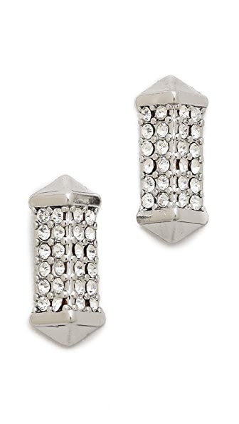 Rebecca Minkoff Pave Rectangle Stud Earrings