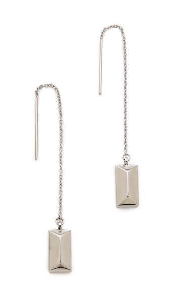 Rebecca Minkoff Rectangle Metal Stud Threader Earrings