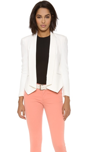 Shop Rebecca Minkoff online and buy Rebecca Minkoff Becky Jacket Chalk - Rebecca Minkoff's signature Becky blazer, cut from washed silk and detailed with slim lapels. Welt pockets sit at the front and buttons fasten along the asymmetrical hem. Elbow darts and light shoulder padding structure the long sleeves. Lined. Fabric: Washed silk. Shell: 100% silk. Lining: 95% polyester/5% spandex. Dry clean. Imported, China. MEASUREMENTS Length: 24in / 61cm, from front shoulder. Available sizes: 0,2,6,8,10,12