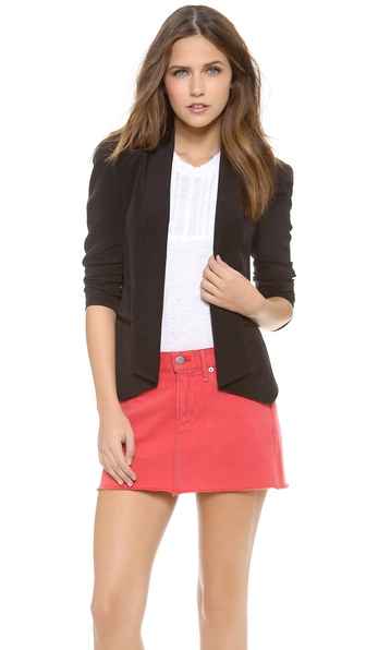 Shop Rebecca Minkoff online and buy Rebecca Minkoff Becky Jacket Black - Rebecca Minkoff's signature Becky blazer, cut from cool silk and detailed with slim lapels. Welt pockets sit at the front and buttons fasten along the asymmetrical hem. Elbow darts and light shoulder padding structure the long sleeves. Lined. Fabric: Silk crepe. Shell: 100% silk. Dry clean. Imported, China. MEASUREMENTS Length: 24in / 61cm, from front shoulder. Available sizes: 4,8,10,12