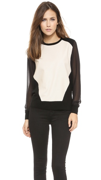 Rebecca Minkoff Leon Leather Front Sweater