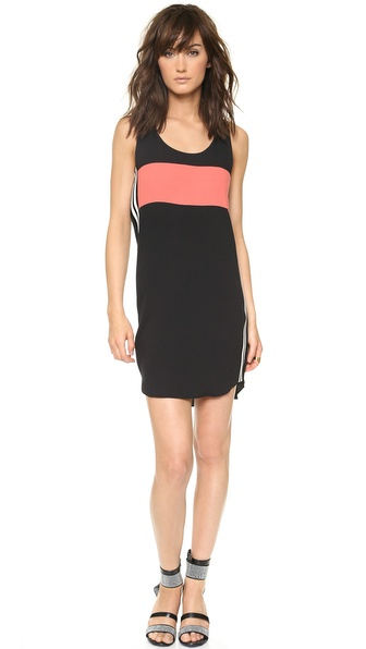 Shop Rebecca Minkoff online and buy Rebecca Minkoff Sterling Dress - Black - Striped knit bands lend a sporty feel to a colorblocked crepe Rebecca Minkoff dress. The relaxed silhouette is styled with a scoop neckline and curved hem. Hidden back zip. Sleeveless. Unlined. Fabric: Crepe. Shell: 100% rayon. Trim: 87% rayon/12% polyester. Dry clean. Imported, China. Measurements Length: 35in / 89cm, from shoulder Measurements from size 4. Available sizes: 0,2,4,6,8,10