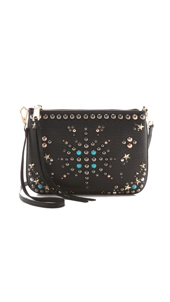 Kupi Rebecca Minkoff tasnu online i raspordaja za kupiti A starburst of mixed metal studs brings bohemian glamour to a wrinkled leather Rebecca Minkoff cross body bag. A long zip pull opens the top to a lined, 4 pocket interior. Optional shoulder strap. Dust bag included. Leather: Cowhide. Weight: 16oz / 0.45kg. Imported, China. Measurements Height: 7in / 18cm Length: 9.75in / 24.5cm Depth: 0.75in / 2cm Strap drop: 22in / 56cm. Available sizes: One Size