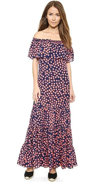 Shop Rebecca Minkoff online and buy Rebecca Minkoff Dev Off Shoulder Dress Indigo/Coral online